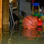 Flooded basement with floating toys