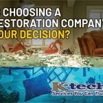 Choosing a Restoration Company blog header with photo of a flooded home
